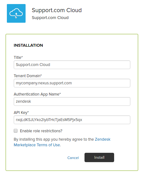 Support.com Cloud App Settings